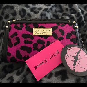 NWT Betsey Johnson RARE Pink Leopard Fur Wallet